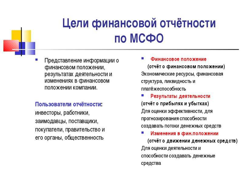 Цели финансовой отчётности по МСФО Представление информации о финансовом поло...