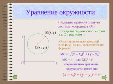 Уравнение окружности следовательно уравнение окружности имеет вид: (x – x0)2 ...