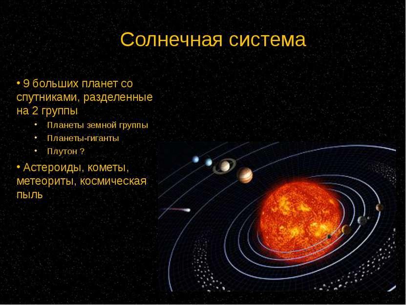 Солнечная система 9 больших планет со спутниками, разделенные на 2 группы Пла...