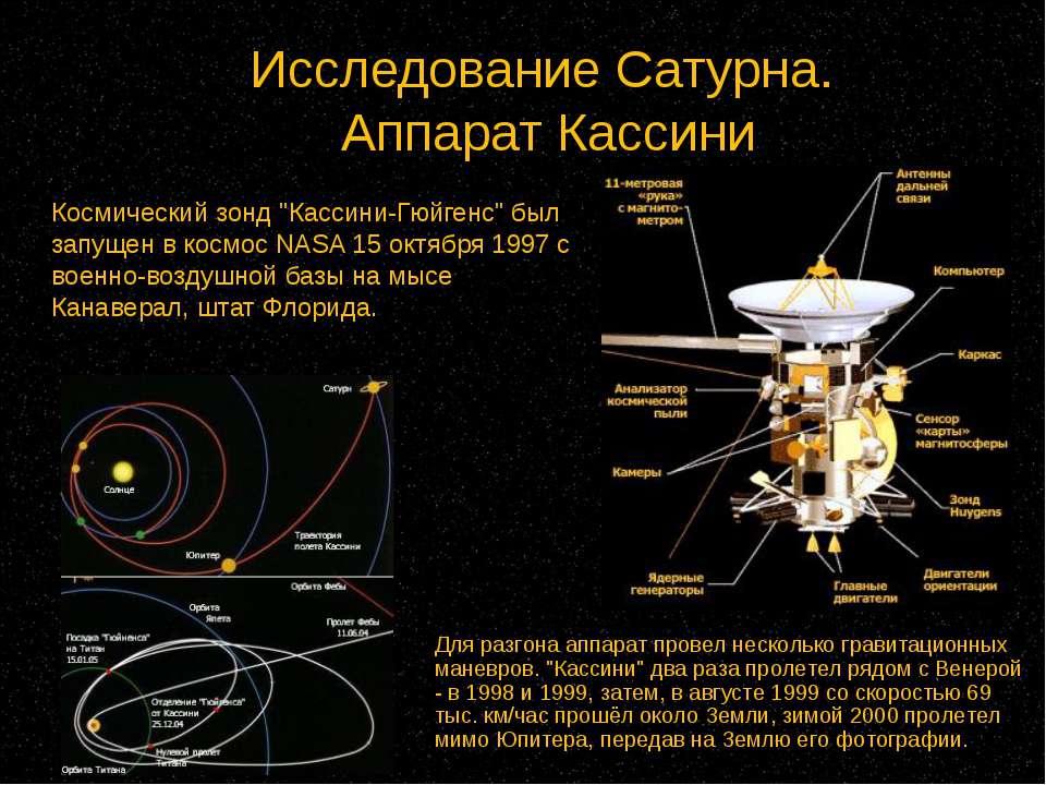 """Исследование Сатурна. Аппарат Кассини Космический зонд """"Кассини-Гюйгенс"""" был ..."""