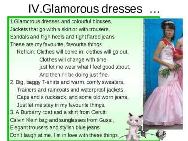IV.Glamorous dresses … 1.Glamorous dresses and colourful blouses, Jackets tha...