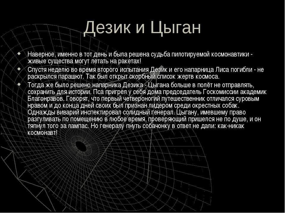 Дезик и Цыган Наверное, именно в тот день и была решена судьба пилотируемой к...