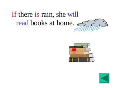 If there is rain, she will read books at home.