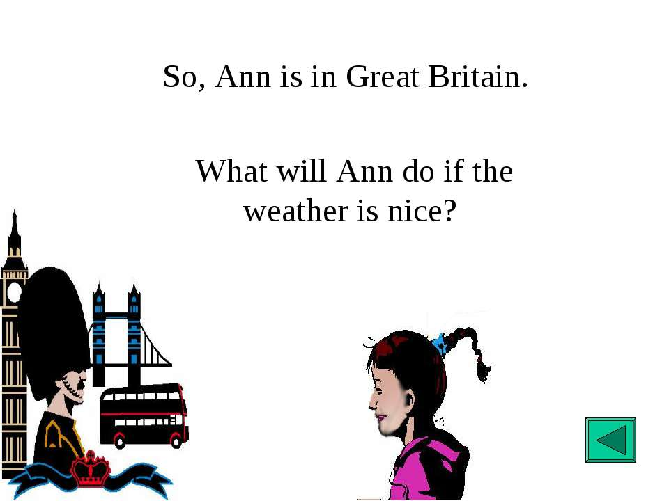 What will Ann do if the weather is nice? So, Ann is in Great Britain.