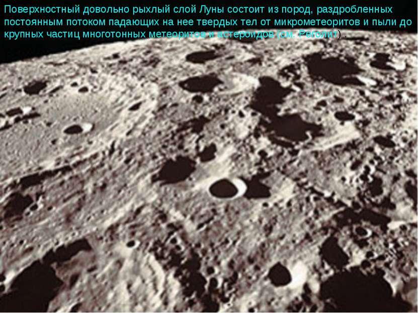 Поверхностный довольно рыхлый слой Луны состоит из пород, раздробленных посто...