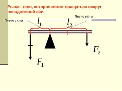 Рычаг- тело, которое может вращаться вокруг неподвижной оси. Плечо силы Плечо...