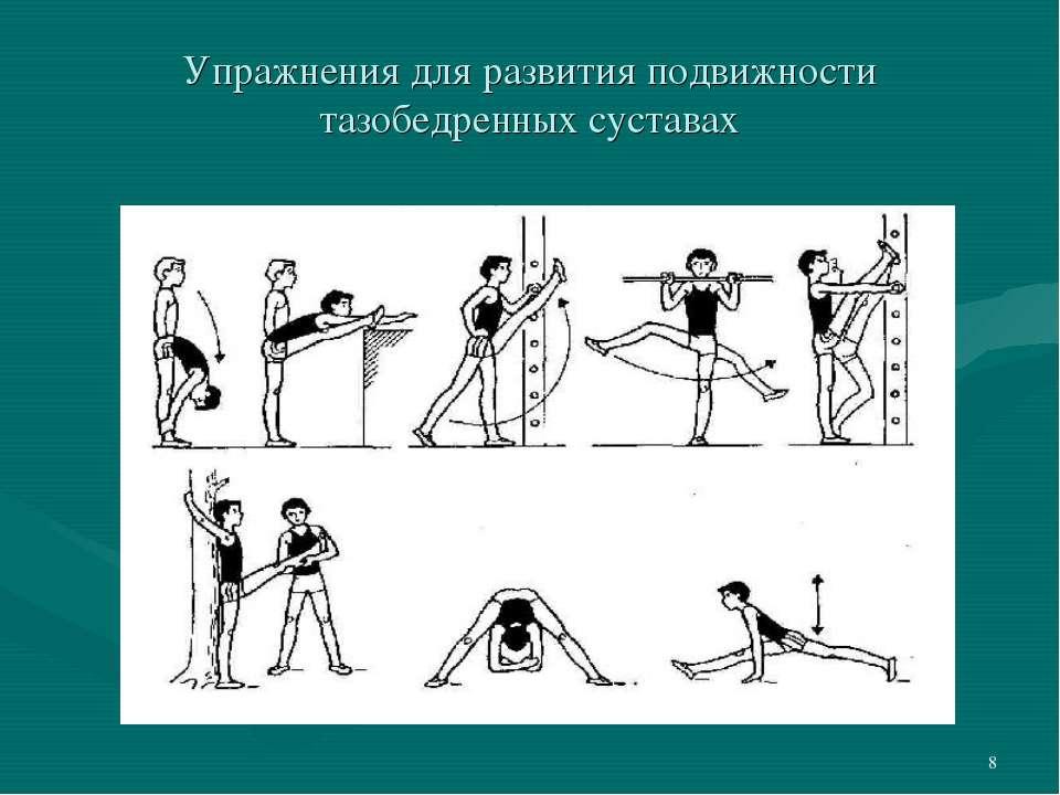 * Упражнения для развития подвижности тазобедренных суставах