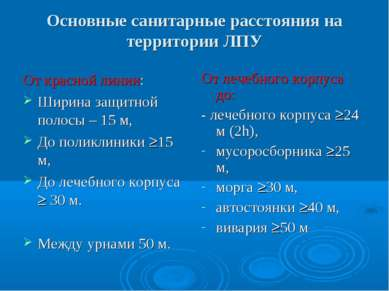Основные санитарные расстояния на территории ЛПУ От красной линии: Ширина защ...