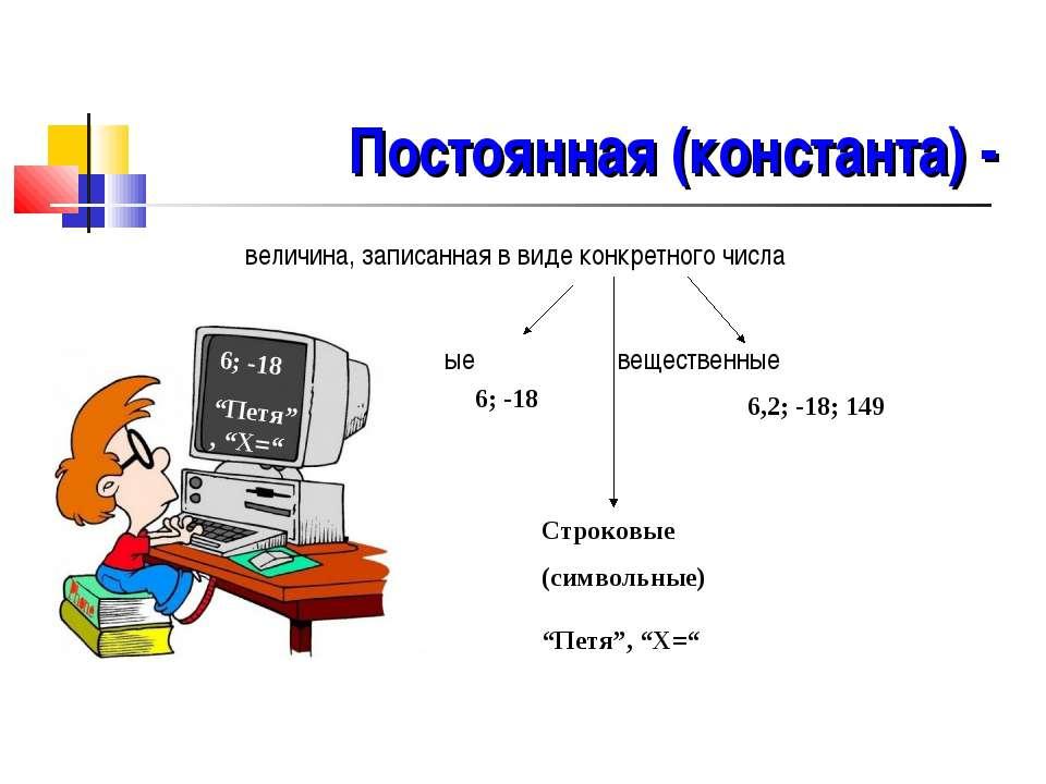 Постоянная (константа) - величина, записанная в виде конкретного числа целые ...