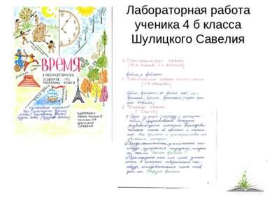 Лабораторная работа ученика 4 б класса Шулицкого Савелия