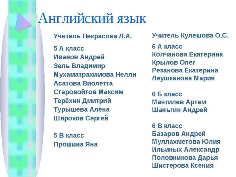 Английский язык Учитель Некрасова Л.А. 5 А класс Иванов Андрей Зель Владимир ...