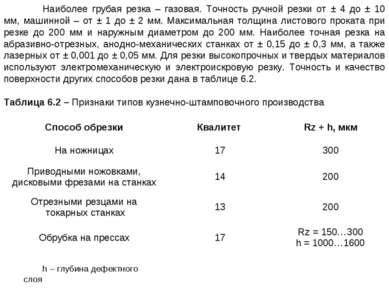 Наиболее грубая резка – газовая. Точность ручной резки от ± 4 до ± 10 мм, маш...
