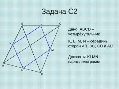 Задача С2 A B C D M N K Дано: ABCD – четырёхугольник K, L, M, N – середины ст...