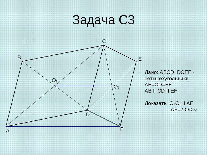 Задача С3 A B C D E F O1 O2 Дано: ABCD, DCEF - четырёхугольники AB=CD=EF AB I...