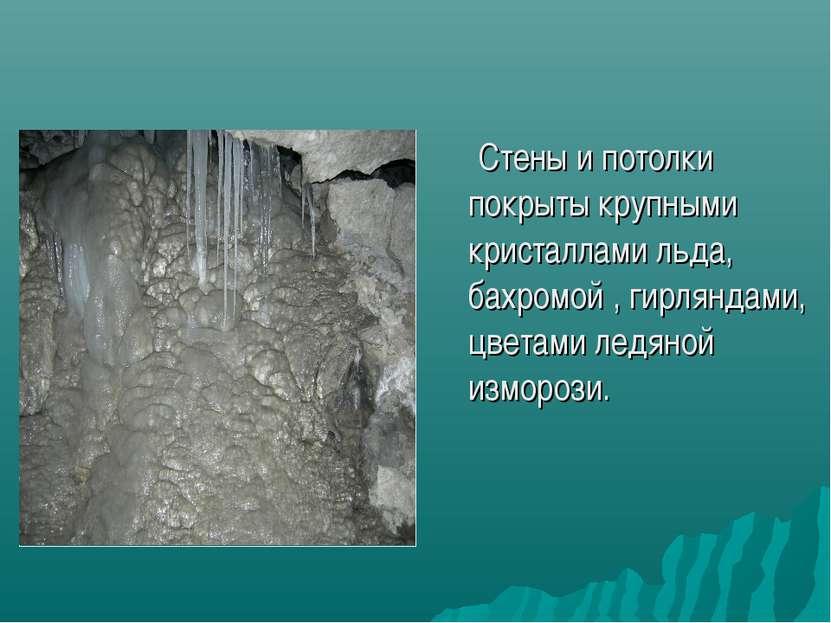 Стены и потолки покрыты крупными кристаллами льда, бахромой , гирляндами, цве...