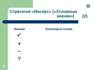 * Стратегия «Инсерт» («Условные значки») (2) Значки Ключевые слова + – ?
