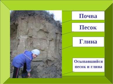 Почва Песок Глина Осыпавшийся песок и глина