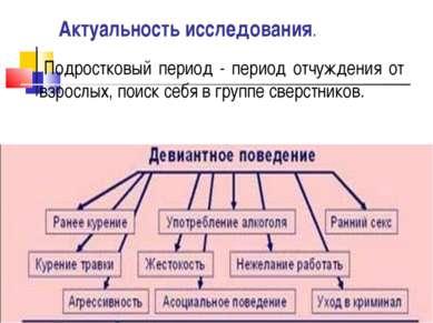 Актуальность исследования. Подростковый период - период отчуждения от взрослы...