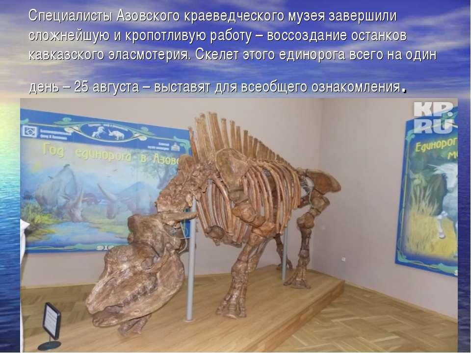 Специалисты Азовского краеведческого музея завершили сложнейшую и кропотливую...