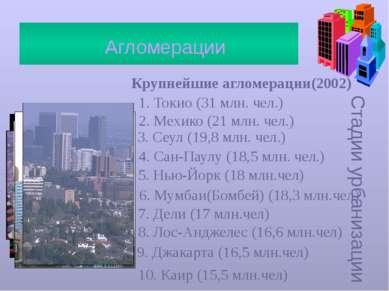 Стадии урбанизации Агломерации Крупнейшие агломерации(2002) 1. Токио (31 млн....