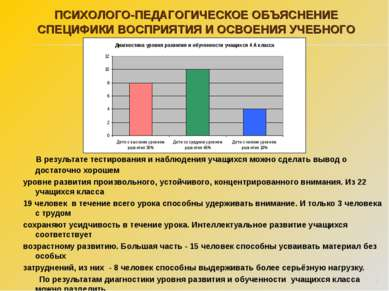 В результате тестирования и наблюдения учащихся можно сделать вывод о достато...