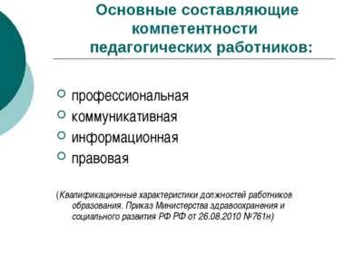 Основные составляющие компетентности педагогических работников: профессиональ...