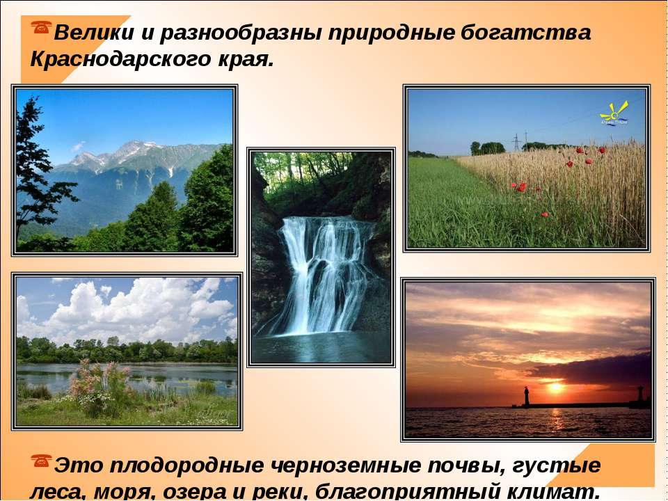 Велики и разнообразны природные богатства Краснодарского края. Это плодородны...