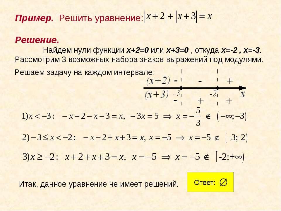 . Решение. Найдем нули функции x+2=0 или x+3=0 , откуда x=-2 , x=-3. Рассмотр...