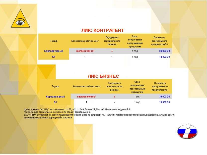 ЛИК: КОНТРАГЕНТ ЛИК: БИЗНЕС Цены указаны без НДС на основании п.п.26, п.2, ст...