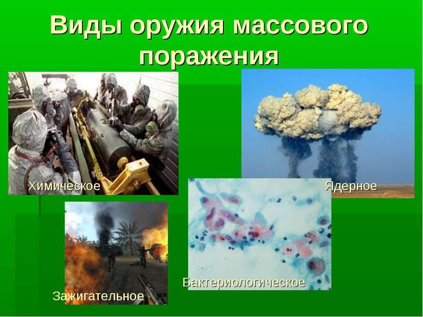 Виды оружия массового поражения Бактериологическое Зажигательное Химическое Я...