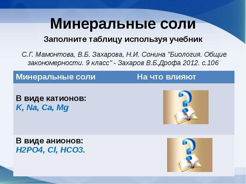 Минеральные соли Заполните таблицу используя учебник С.Г. Мамонтова, В.Б. Зах...