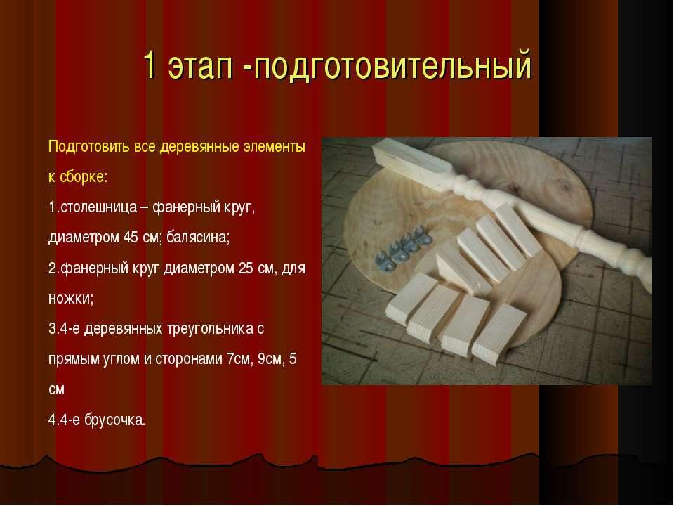 1 этап -подготовительный Подготовить все деревянные элементы к сборке: столеш...