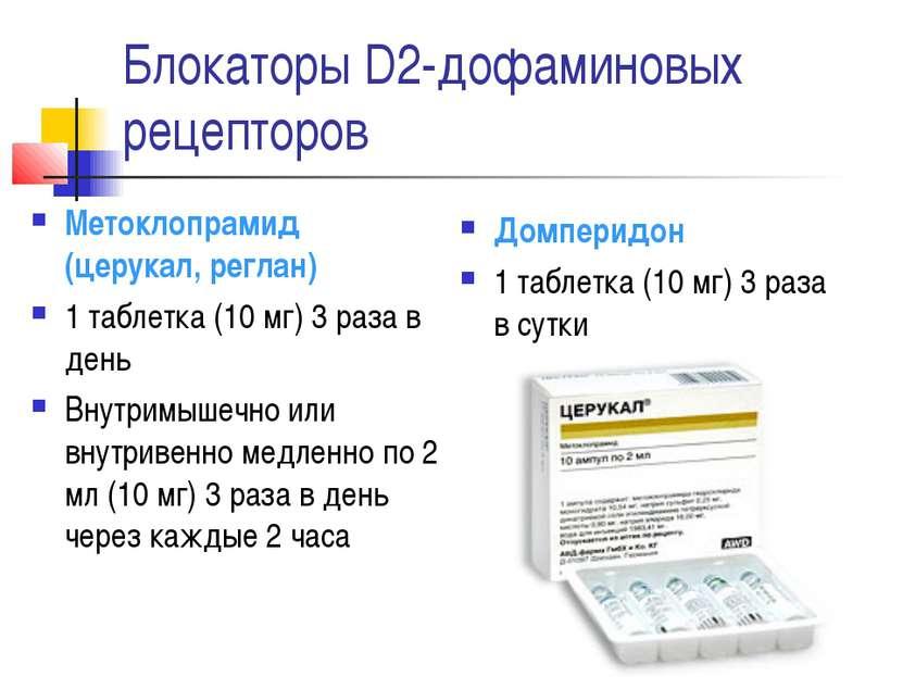 Блокаторы D2-дофаминовых рецепторов Метоклопрамид (церукал, реглан) 1 таблетк...