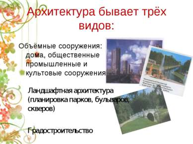 Архитектура бывает трёх видов: Объёмные сооружения: дома, общественные промыш...