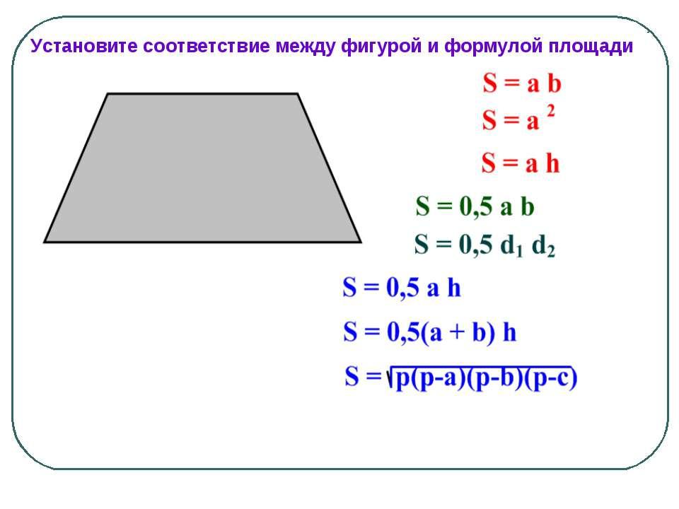 Установите соответствие между фигурой и формулой площади