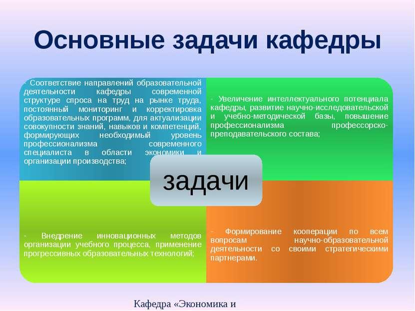 Основные задачи кафедры Кафедра «Экономика и организация производства» - Соот...
