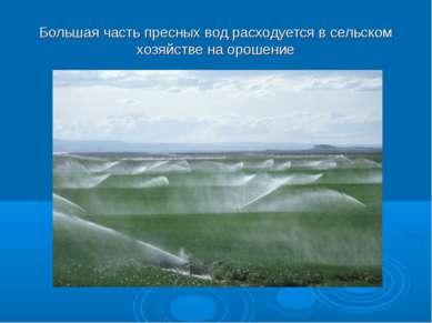 Большая часть пресных вод расходуется в сельском хозяйстве на орошение