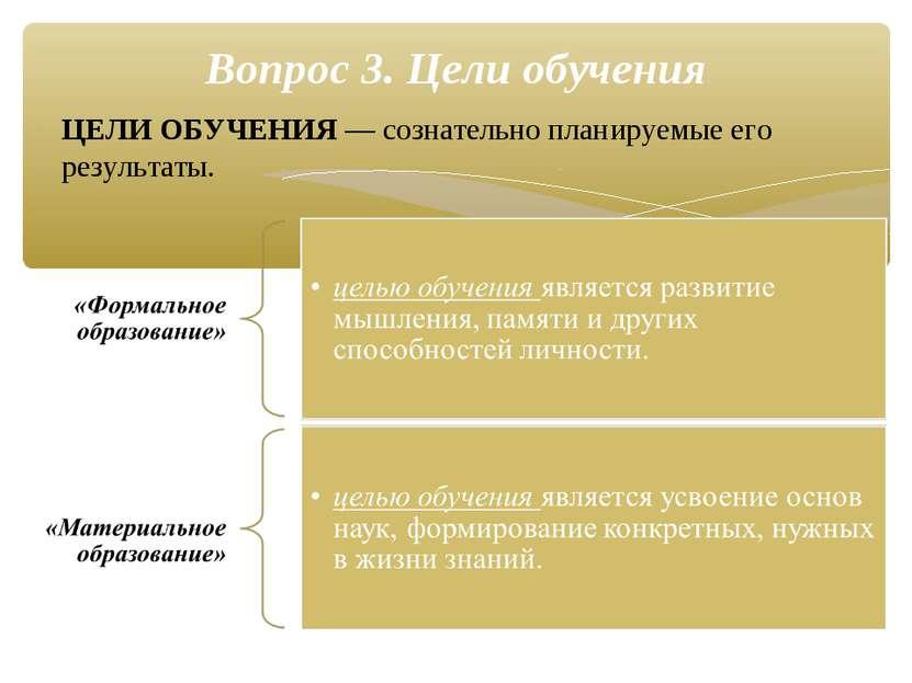 ЦЕЛИ ОБУЧЕНИЯ — сознательно планируемые его результаты. Вопрос 3. Цели обучения