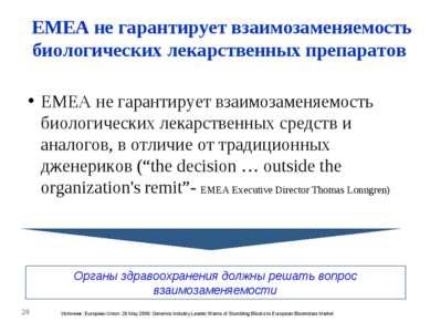 * EMEA не гарантирует взаимозаменяемость биологических лекарственных препарат...