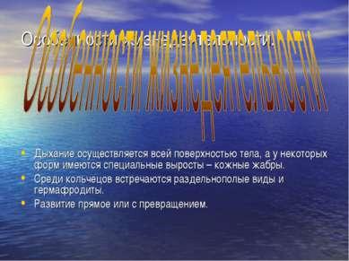 Особенности жизнедеятельности. Дыхание осуществляется всей поверхностью тела,...