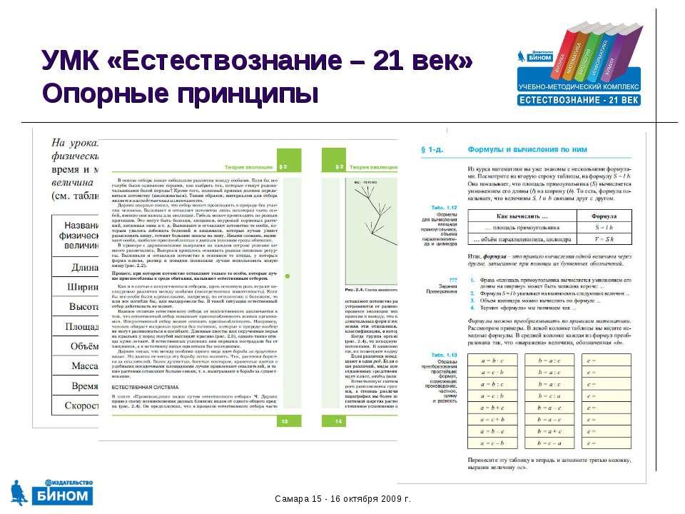 Самара 15 - 16 октября 2009 г. УМК «Естествознание – 21 век» Опорные принципы...