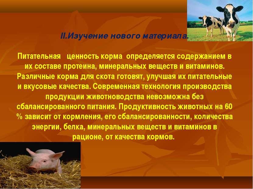 II.Изучение нового материала. Питательная ценность корма определяется содержа...