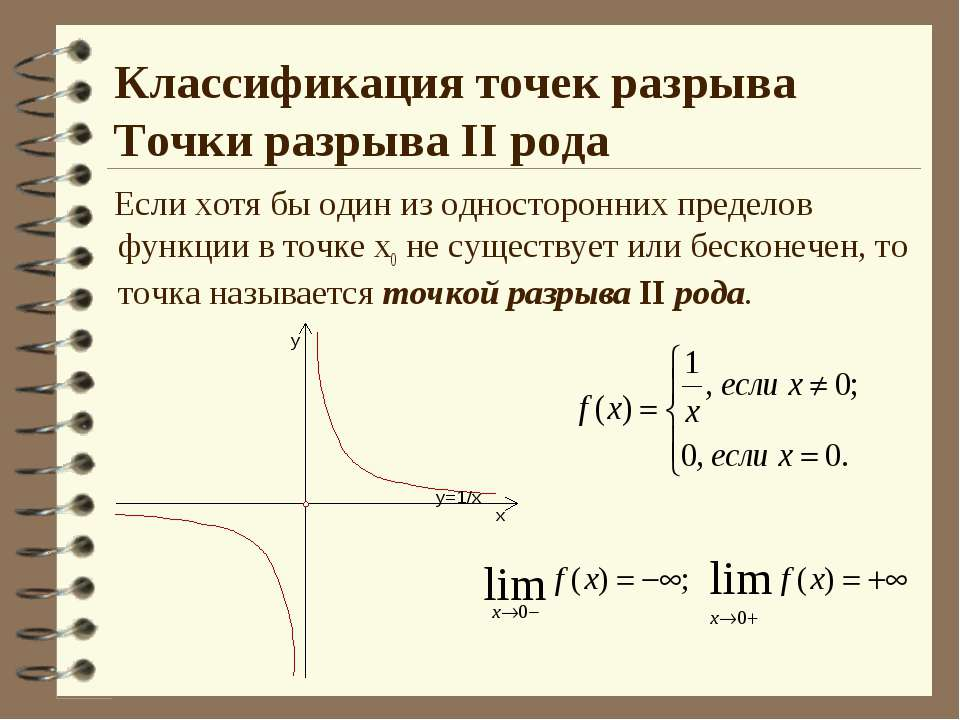 Классификация точек разрыва Точки разрыва II рода Если хотя бы один из одност...