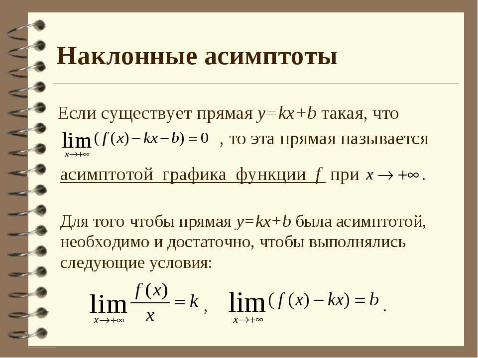 Наклонные асимптоты Если существует прямая y=kx+b такая, что , то эта прямая ...