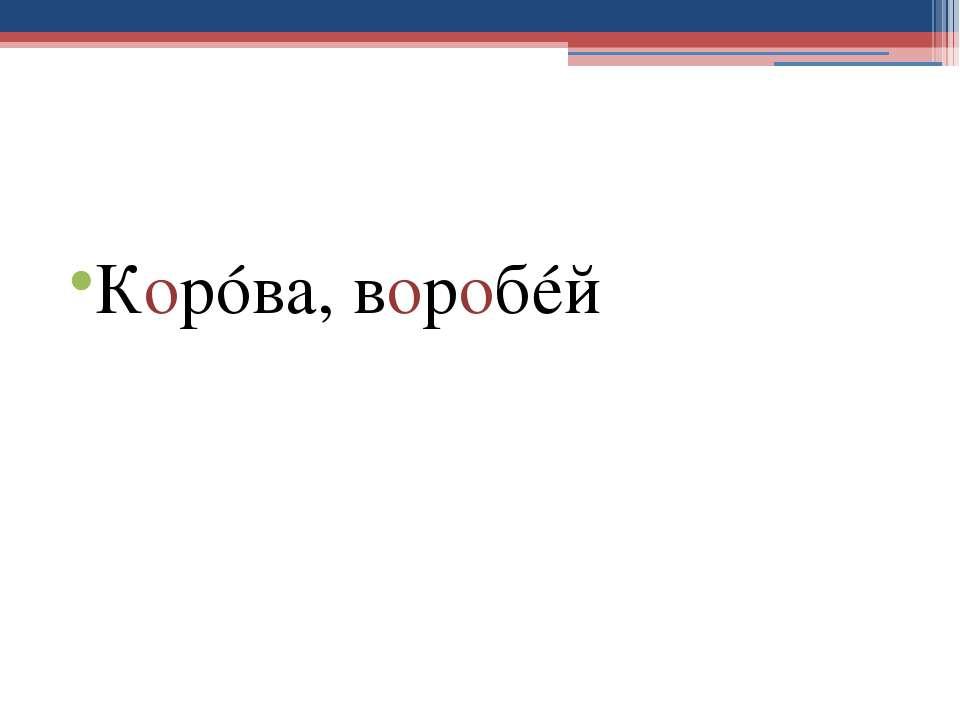 Корóва, воробéй