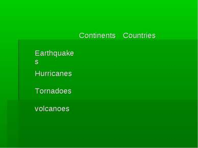 Сontinents Countries Earthquakes Hurricanes Tornadoes volcanoes