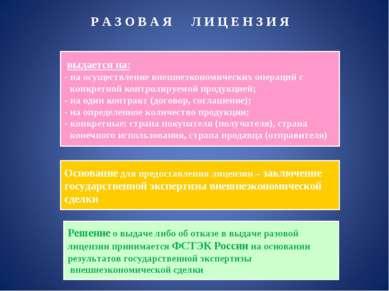 Р А З О В А Я Л И Ц Е Н З И Я выдается на: на осуществление внешнеэкономическ...