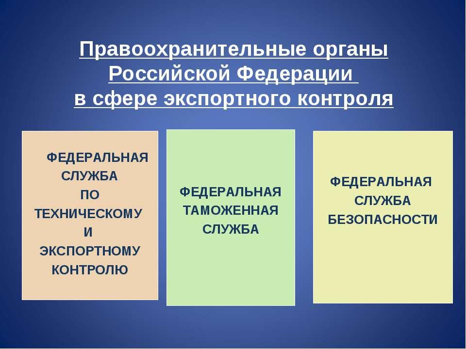 Правоохранительные органы Российской Федерации в сфере экспортного контроля Ф...