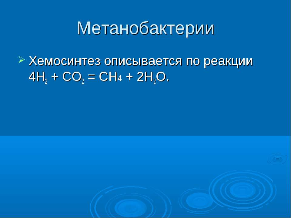 chemosynthesis equation methane