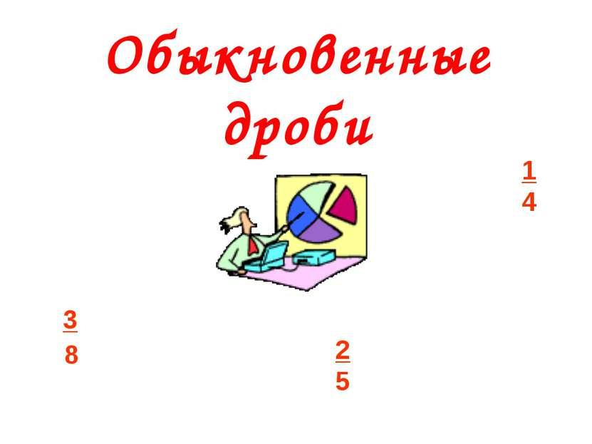Обыкновенные дроби 1 4 3 8 2 5